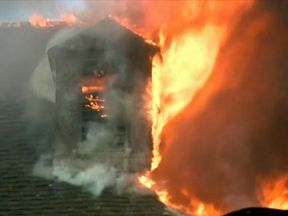 It took several hours for the fire to die down. Pic: ABC