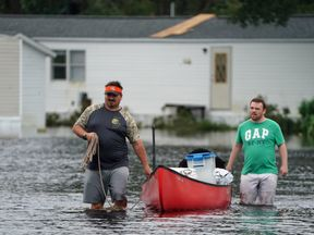 Floods after Hurricane Florence struck Piney Green, North Carolina