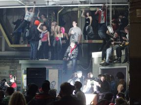An illegal rave in London in 2010