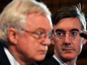 Leading Conservative Party Brexiter Jacob Rees-Mogg and David Davis, the former Sectetary of State for departing the European Union
