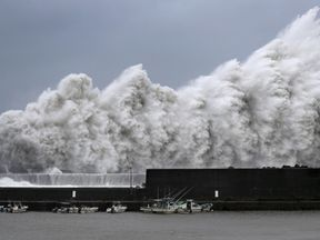 High waves triggered by Typhoon Jebi are seen at a fishing port in Aki, Kochi Prefecture, western Japan