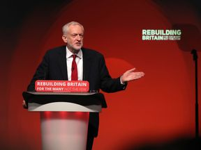 Jeremy Corbyn giving his keynote speech at the Labour Party's annual conference