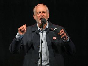 Labour Party leader Jeremy Corbyn speaks at a conference Rally in Liverpool
