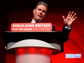 Shadow Secretary of State for Exiting the European Union Keir Starmer delivers his keynote address