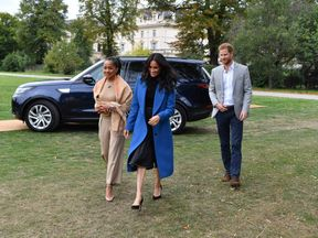 Doria Ragland, Meghan Markle and Prince Harry were all smiles as they arrived
