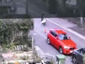 The nine-year-old boy was hit by the rider while crossing the residential road in East Sussex. Pic: Sussex Police