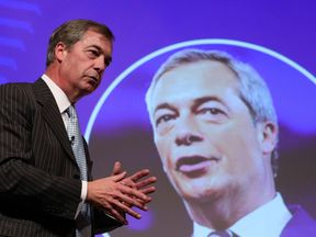 Nigel Farage spoke at a Leave Means Leave event on the fringe of the Tory conference