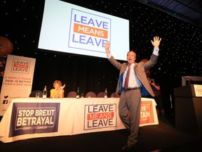 Nigel Farage speaks at a Leave Means Leave rally at the University of Bolton Stadium in Bolton