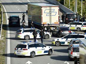 Police closes the Oresund bridge near Copenhagen, Denmark, September 28, 2018