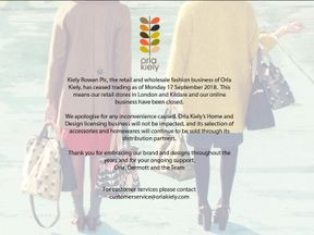Screen grab of Orla Kiely website, with a notice that the company's retail and wholesale businesses ceased trading on September 17, 2018