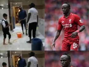 Mane was pictured filling a bucket to clean the toilets