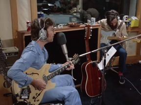 John Lennon recording How Do You Sleep At Night at his Ascot studio in 1971