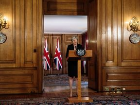 Theresa May speaking in Downing Street in the aftermath of the Salzburg summit