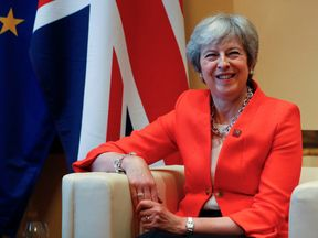 Britain's Prime Minister Theresa May attends a bilateral meeting with Ireland's Prime Minister, Taoiseach Leo Varadkar