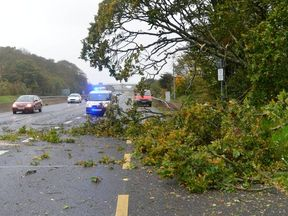 Motorists are urged to take care as Storm Ali batters the UK and Ireland. Pic: Garda, Dublin