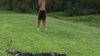 Alligator is apprehended after biting a man at a golf course