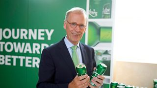 CEO Cees 't Hart at the brewer's Copenhagen HQ during the launch of the new Carlsberg Snap Packs