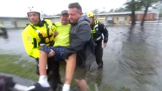 floodwaters rise as people are rescued due to hurricane Florence