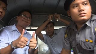 Detained Reuters journalists Wa Lone and Kyaw Soe Oo leave Insein court after listening to the verdict in Yangon, Myanmar September 3, 2018
