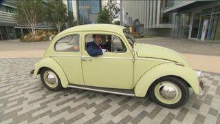 Tom Macleod attempts to drive Volkswagan mini