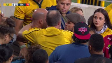 Angry fan clashes with Wallabies