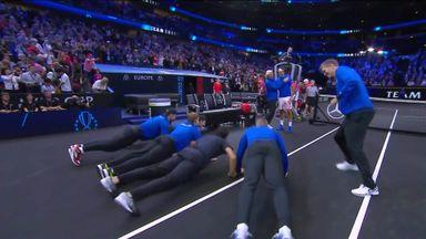 Team Europe do push-ups