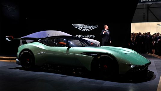 CEO Andy Palmer shows off the Aston Martin Vulcan in 2015