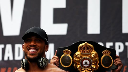 Anthony Joshua came out significantly heavier than his Russian opponent at the weigh-in