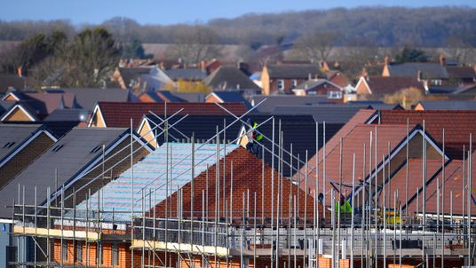 Houses under construction on a new housing development near Kempston in Bedfordshire.