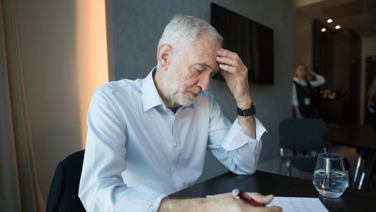 Jeremy Corbyn works on his keynote speech during Labour's conference