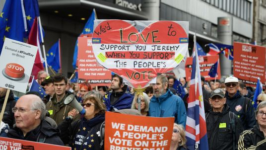 Demonstrators calling for a people's vote on the final outcome of the government's Brexit negotiations, during the first day of the annual Labour Party conference in Liverpool