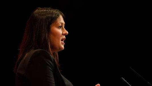 Lisa Nandy addresses delegates on the third day of the Labour Party Conference in Brighton in 2015