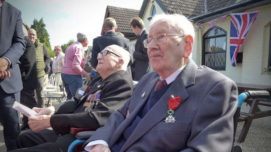 British Normandy veterans 95-year-old Bill Cowley (left) and 100-year-old Ron Trenchard (right) have been presented with France's highest honour, the Légion d'honneur. Pic: Allied Rapid Reaction Corps