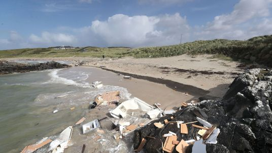 The scene in Claddaghduff, near Clifden in Co Galway where a woman died after her caravan was blown off a cliff in Storm Ali
