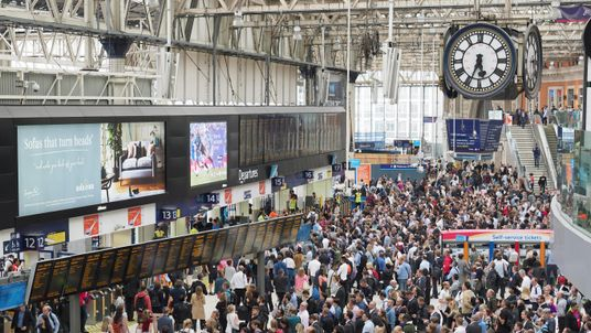 Crowded concourse at Waterloo Station