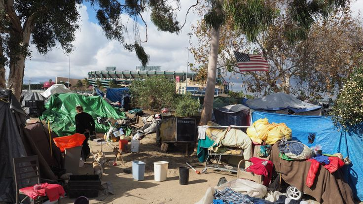 California is home to thousands of homeless people, with many of them living in camps like this one in Anaheim
