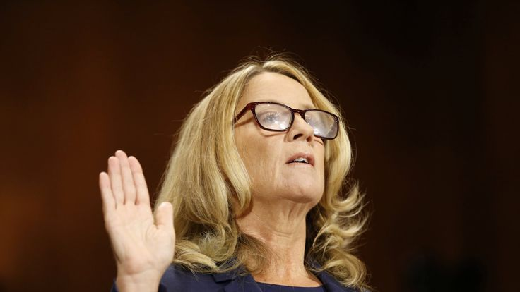 Professor Christine Blasey Ford is sworn in to testify before a Senate Judiciary Committee confirmation hearing for Kavanaugh