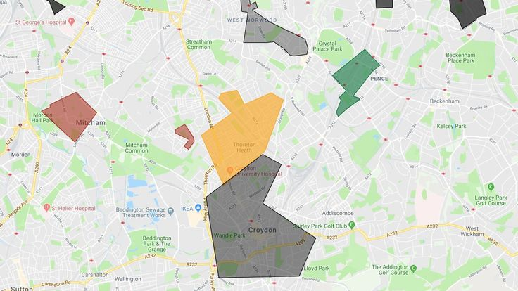 Croydon has two main gangs according to the map