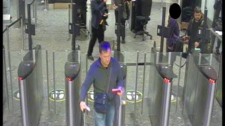 A CCTV image of both suspects at Heathrow airport security at 7.28pm