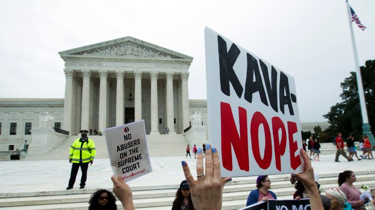 Demonstrators protest against the appointment of Supreme Court nominee Brett Kavanaugh outside of the US Supreme Court in Washington DC