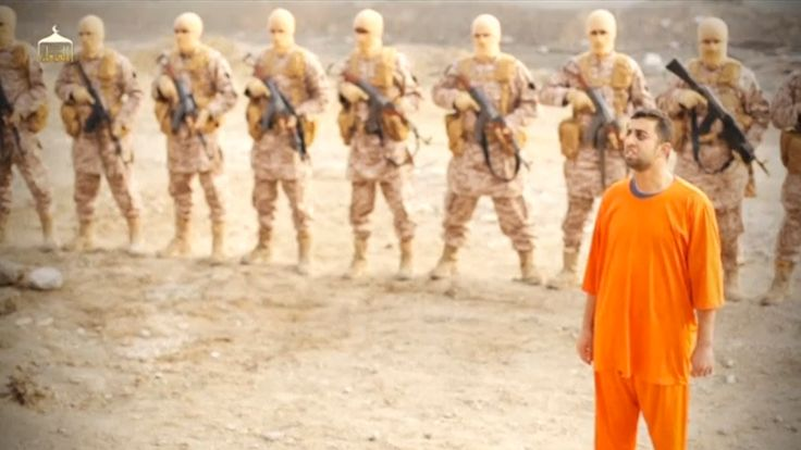 An image said to be of Islamic State captive, Muath al-Kasaesbeh, a Jordanian pilot, shortly before his murder