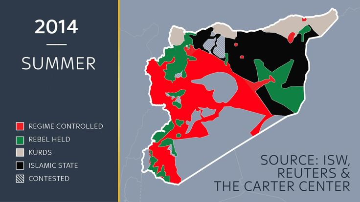 A map showing the approximate lines of control in Syria in summer 2014