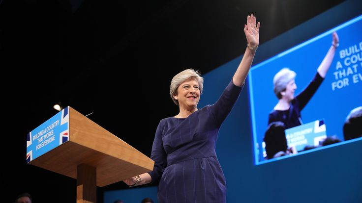 "British Prime Minister Theresa May delivers her keynote speech to delegates and party members on the last day of the Conservative Party Conference at Manchester Central on October 4, 2017 in Manchester, England. The prime minister rallied members and called for the party to ""shape up"" and ""go forward together"". Theresa May also announced a major programme to build council houses and a cap on energy prices."