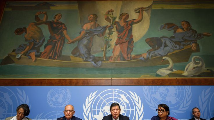 Members of the United Nations' Independent International Fact-finding Mission on Myanmar present the final report on alleged rights violations