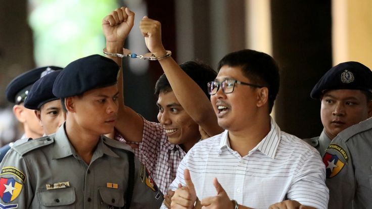Detained Reuters journalist Wa Lone and Kyaw Soe Oo pictured as they arrived at a previous court date in August