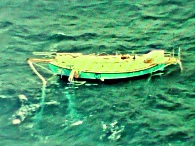 The capsized yacht Thuriya of solo sailor Abhilash Tomy