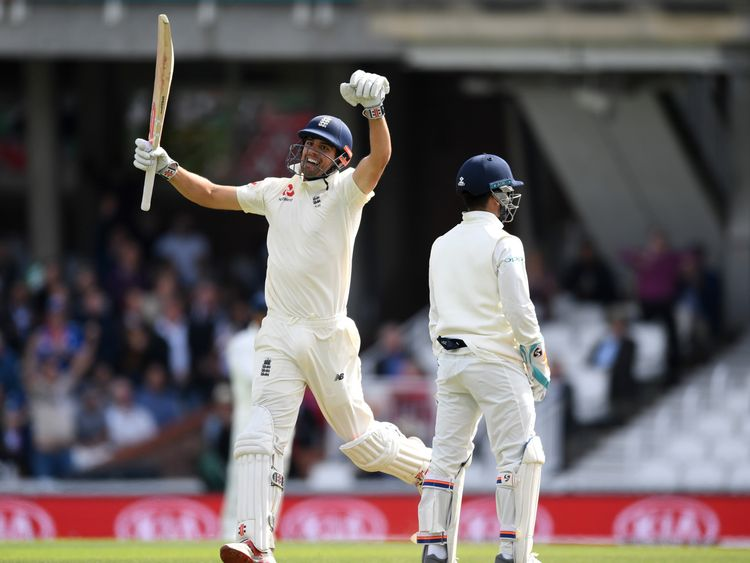 Alastair Cook celebrated the 100 in style