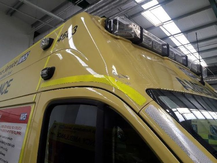A brick was thrown at an ambulance, leaving this dent. Pic: West Midlands Ambulance Service