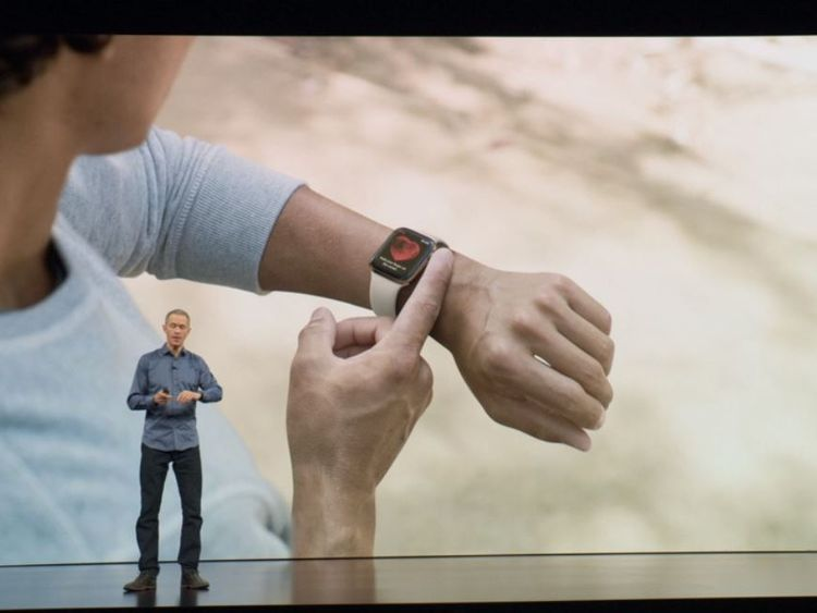 The Apple Watch Series 4 being introduced at Apple's special event