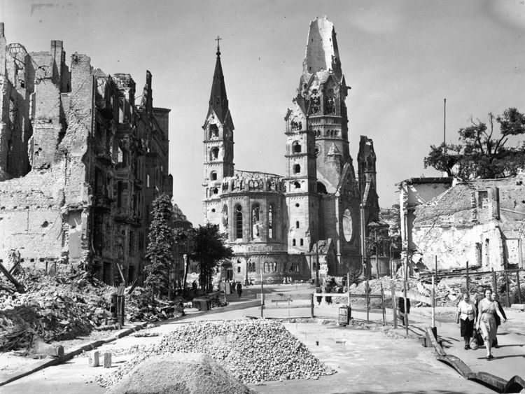 The ruins of the Tauenzien Strasse and the Kaiser Wilhelm Memorial Church in Berlin